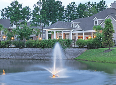 a fountain in a residential area in Goose Creek, South Carolina