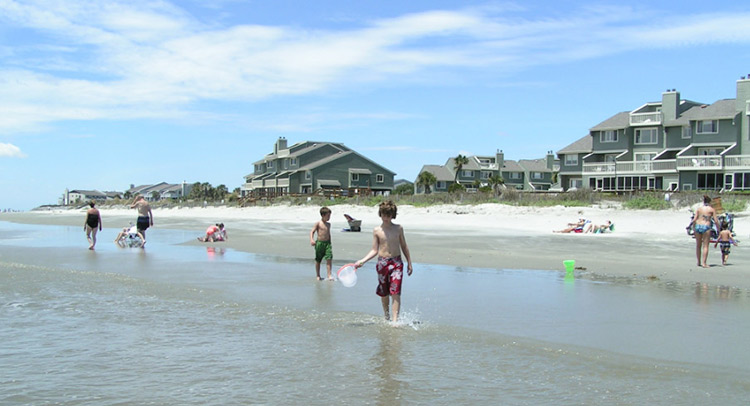 family and friends at the beach in Isle of Palms, South Carolina