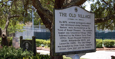 Old Village entrance sign in Mt Pleasant