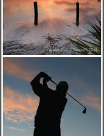 Sunset hangs low and photo of a golfer in Summers Bend, North Charelston, SC